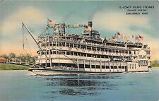 "Ohio postcard Coney Island Steamer ""Island Queen"" Cincinnati"