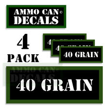 "40 GRAIN Ammo Can LABELS STICKERS DECALS for Ammunition Cases 3""x1.15"" 4pack"