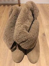 Humanoid Suede Shearling Wedge Pull-on Tie Ankle Boots EU 40 UK 6.5 7 US 9 1/2