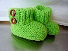 Baby Bootees-Handknitted,0 to 3 months, Green with Buttons