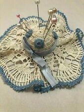 "Vintage Pin Cushion Crocheted Hat - Approx. 5"" x 5"" Cream & Blue - Sun Bonnet"