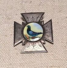 William Vale Victorian English Sterling Silver Enamel Bird Maltese Cross Pin