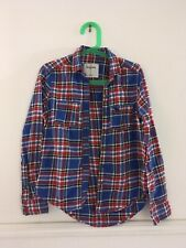 Abercrombie Kids Girls Long Sleeve Shirt Size S Small Blue Red White Plaid