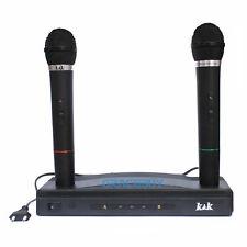 MICROFONO WIRELESS AT-306 FM Ricevitore sistema doppia frequenza W/2 Microfoni a