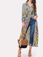 Collar Neck Long Sleeve Longline Elegant Floral Tunic Shirt Blouse Top Casual