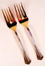 2 Golden Flair Salad Forks Fork International Stainless Gold Electroplate 18-8