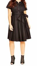 New City Chic Sash tie shirt dress  plus size 14W Black Short Sleeve Cotton 0151
