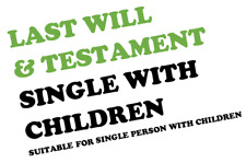 LAST WILL & TESTAMENT SUITABLE SINGLE PERSON WITH CHILDREN ENGLAND WALES EMAIL