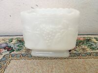 Vintage Anchor Hocking Square Grape White Milk Glass Box Planter or Candy Dish