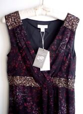 NEW MONSOON Black/Plum Floral Print Wrap Style Hand-Beaded Dress UK 12