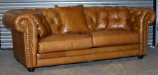 CHESTERFIELD 3 SEATER TAN/BROWN LEATHER SOFA RRP £2,499