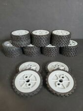 """Knex 4 Wheels tires Small 1.75"""" Tire with 1.5"""" Silver Spoke Hubs Pulleys"""