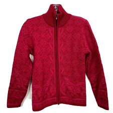 Dale Of Norway S Wool  Full Zip Jacket Cardigan Sweater Red Pink