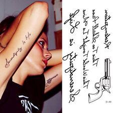 Pretty Model Stencil Design Sexy Body Art Gun Letters Temporary Tattoo Sticker