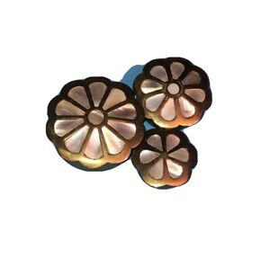 Antique Vintage Brass Pill Box With Mother Of Pearl Floral Inlay - Set Of 3