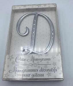 """Cake Topper Wedding Lillian Rose Rhinestone Monogram Letter D  Silver (NEW) 5"""""""
