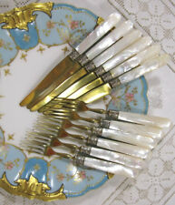 """Gilt & Mother of Pearl Handle Fruit Set 6 w/Box - 6 5/8""""L"""