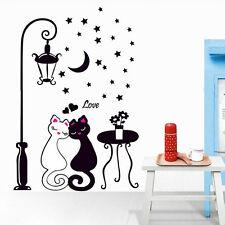 DIY Black Paar Katze Wandsticker Wall Stickers Wandaufkleber Wohnzimmer Deko