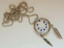 Dreamcatcher Necklace Pendant - Purple Stones and Metal Feathers - Valentines