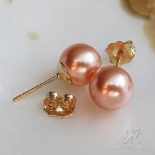 ELEGANTER ALS  WEIß ● 8mm ● SC Perlen pfirsich rosa Ohrstecker ygf 14k Gold 585