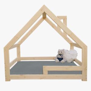 NeedSleep® Kinderbett Hausbet Kinder Bett Bodenbett Holz 70x140 80x160 90x180