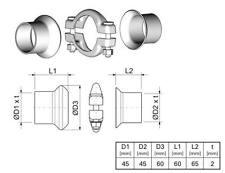 Kit reparation Tube Echappement PEUGEOT 206 3/5 portes 1.6 16V 109 CH