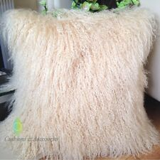 40x40CM GENUINE MONGOLIAN LAMB SHEEPSKIN WOOL FUR CUSHION COVER - BLONDE YELLOW