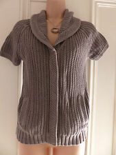 Fat Face size 8 quite chunky knit grey short sleeved cardigan, collar. pockets