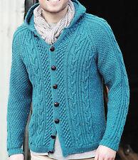 "Knitting Pattern-Ladies-Gents Aran Hooded jacket or Cardigan pattern-32-54""chest"