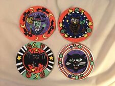 SET of 4 Nicole Engblom HALLOWEEN Plates Witch, Bat, Cat, Owl 8 1/2 Inches