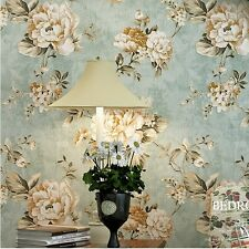 """Vintage Blue/Cream Roses Flower Gold Wallpaper Roll home wall decor 20.8""""x393.7"""""""