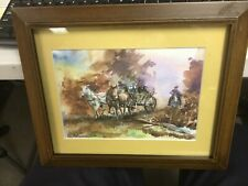 western action scene watercolor painting 2007 illegibly signed no reserve