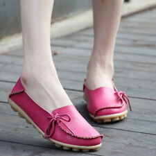 Womens Casual Leather Oxfords Shoes Peas Loafers Slip on Flats Boat Moccasin