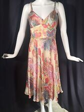 Kay Unger Silk Beaded Sequined Paisley Print Formal Dress Lined Sz 4 Boho