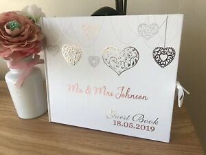 Personalised Wedding Guest Book White Rose Gold And Silver Theme Keepsake