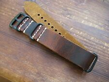 Brown Worn Leather 'Nato-Zulu'-Style Watch Strap Band 24mm Black Fittings
