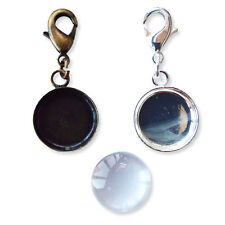 18mm Silver / Bronze ROUND Cabochon Key Rings Glass Jewellery Setting
