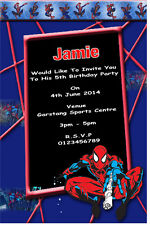 10 Personalised Spiderman Party Invitations / Thank You Cards