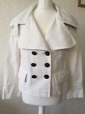 BURBERRY PRORSUM Vintage White Cotton Twill Double Breasted Jacket Coat UK 8