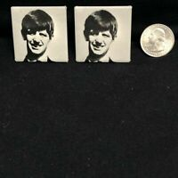 VTG The Beatles Ringo Star 1.5 Inch x 1.5 Inch Square Pinback Button Lot of 2