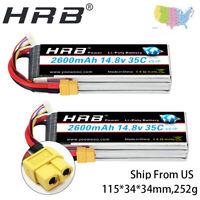 2PCS HRB Lipo Battery 4S 14.8V 2600Mah 35C XT60 70C For Car Drone FPV Quadcopter