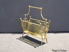 Vintage French Country Gold Metal & Glass Magazine Rack ~ Mid Century Modern