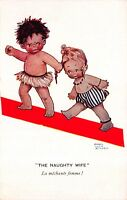 Mabel Lucie Attwell Postcard The Naughty Wife Boy Pulling Girls Hair~116867