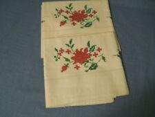 Vtg Pair Hand Embroidered White Seamless Pillowcases Unused