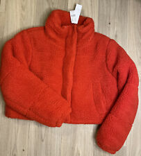 Womens Topshop Red Cropped Borg Teddy Puffer Jacket Size UK 12
