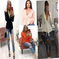 New Ladies Long Sleeve  Belted Duster Coat Blazer Jacket Cardigan Size UK 8-26