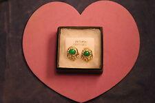 BELLISSIMO colore oro Orecchini con agata verde e Diamantini 1.6 cm di larghezza nella casella