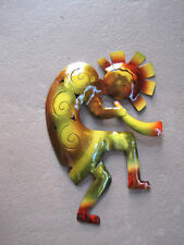 Dripped Copper on metal Vibrant MultiColor Kokopelli Flute Player Wall Hanging