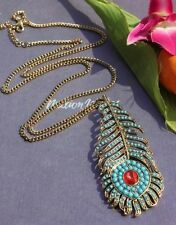 Fashion Peacock feather long Pendant sweater Chain Necklace ZS128