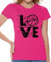 LOVE Basketball Women's T shirt Tops Gift for Basketball Player Game Day